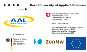 Logos of the Bern University of Applied Sciences, the Ambient Assisted Living (AAL), the State Secretariat for Education, Research and Innovation, the Dutch Ministry of Health, Welfare and Sport, the German Federal Ministry of Education and Research, and the European Commission